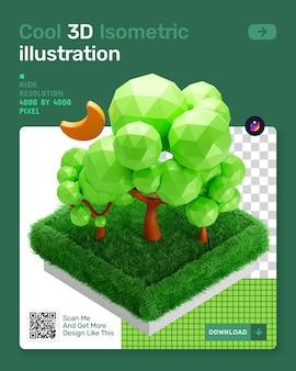 3d isometrische illustratie met laag poly boom en groen gras