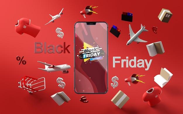 3d-items zwarte vrijdag verkoop mock-up rode achtergrond