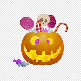 3d jacks pompoen lantaarn en kinderen snoep halloween concept geïsoleerde 3d illustratie