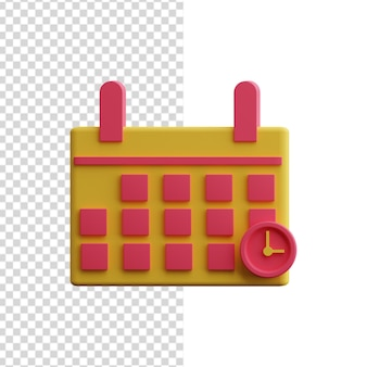 3d kalenderpictogram geïsoleerd op wit. 3d kalender illustratie.