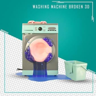 3d kapotte wasmachine