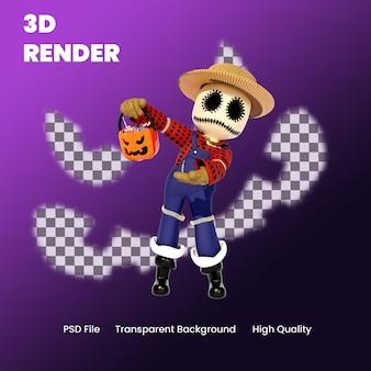 3d karakter halloween vogelverschrikker met snoep pose illustratie
