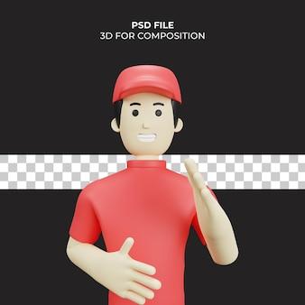 3d-karakter illustratie bezorgkoerier premium psd