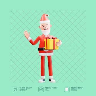 3d karakter illustratie. de kerstman houdt kerstcadeaus vast en zwaait om gedag te zeggen