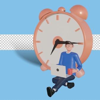3d karakter illustratie time management concept