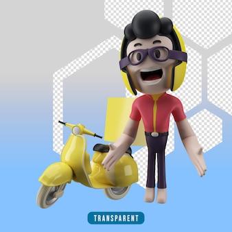 3d-karakter koerier en scooter