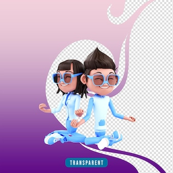 3d karakter paar met yoga pose