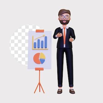 3d karakter van een zakenman die een bedrijfspresentatie geeft