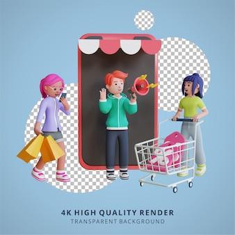3d-karaktermodellering digitale marketing mobiele online winkelillustratie