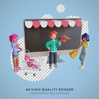 3d-karaktermodellering digitale marketing online winkelen illustratie