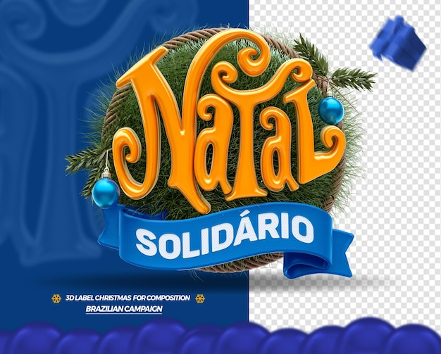 3d kerst label met houten achtergrond en ballen boom braziliaans portugees