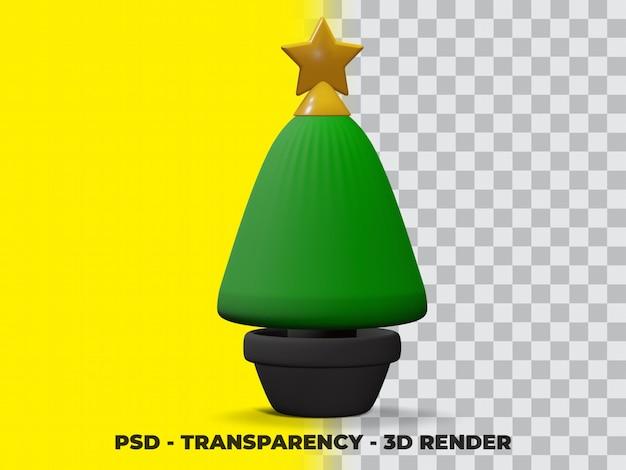 3d kerst pine tree op de pot met transparantie achtergrond premium psd