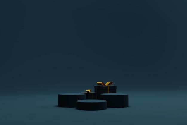 3d-kerstachtergrond met podium en geschenkdoos