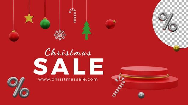 3d kerstaffiche achtergrond sjabloon verkoop ballen podium hoge kwaliteit