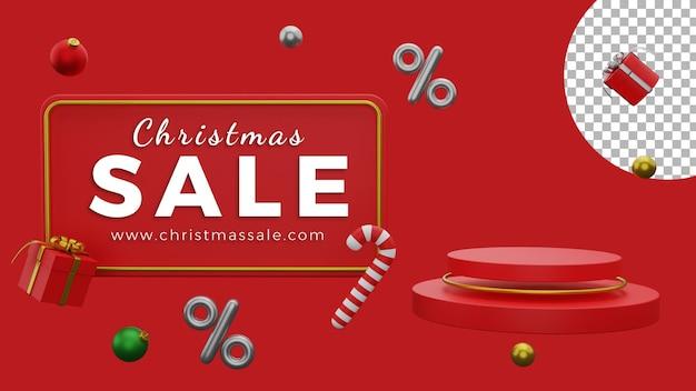 3d kerstaffiche achtergrond verkoop sjabloon ballen podium hoge kwaliteit