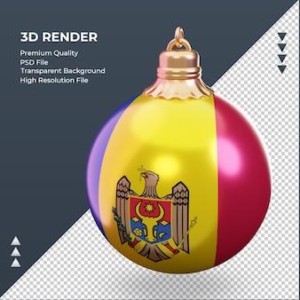 3d-kerstbal moldavië vlag rendering juiste weergave