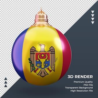 3d-kerstbal moldavië vlag rendering vooraanzicht