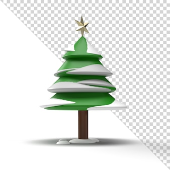 3d kerstboom met geïsoleerde sneeuw