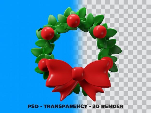 3d-kerstkrans geïsoleerd met transparantie-achtergrond