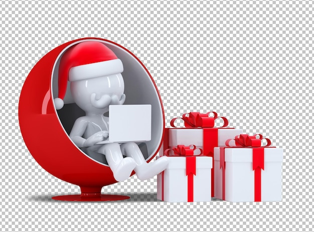 3d kerstman die aan laptop computer werkt. geïsoleerd op witte achtergrond