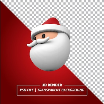 3d kerstman hoofd weergegeven op transparante achtergrond