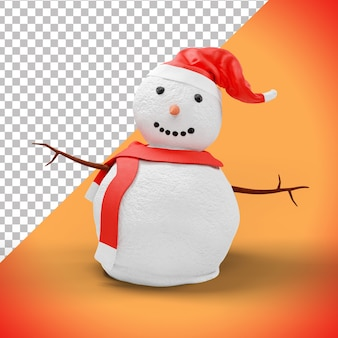 3d kerstmissneeuwman met rode hoed