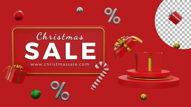 3d kerstposter achtergrond verkoop sjabloon ballen geschenkdoos podium hoge kwaliteit