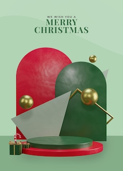 3d kerstthema podium met geschenkdoos en rode snoepstok