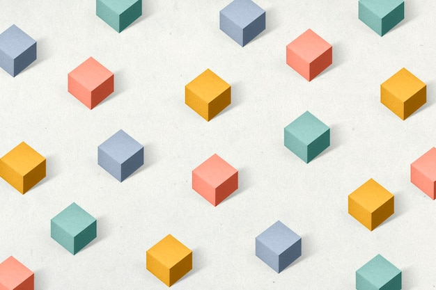 3d kleurrijke papier ambachtelijke kubieke patroon achtergrond