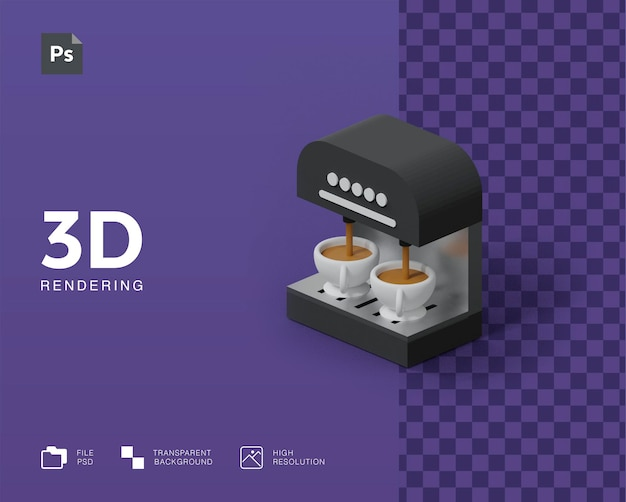 3d koffiezetapparaat illustratie