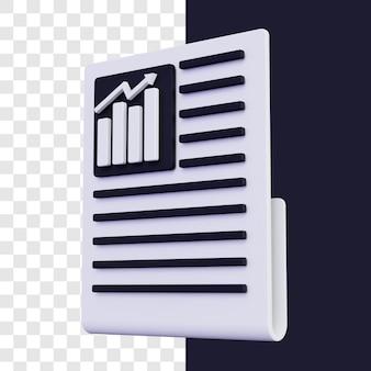 3d krant met geïsoleerde grafiek teruggeven rendering