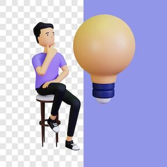 3d krijg idee illustratie concept met gloeilamp