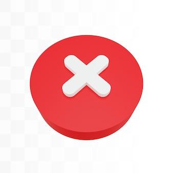 3d kruis sluiten annuleer icoon