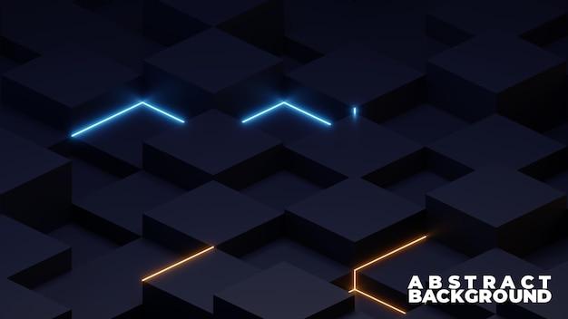 3d-kubus en neonlicht, abstracte achtergrond
