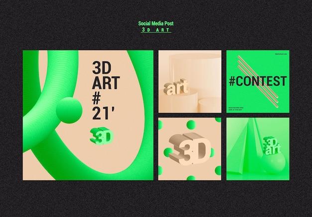 3d-kunstwedstrijd op sociale media-berichten