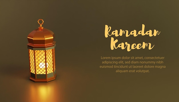 3d-lamp ramadan kareem-sjabloon