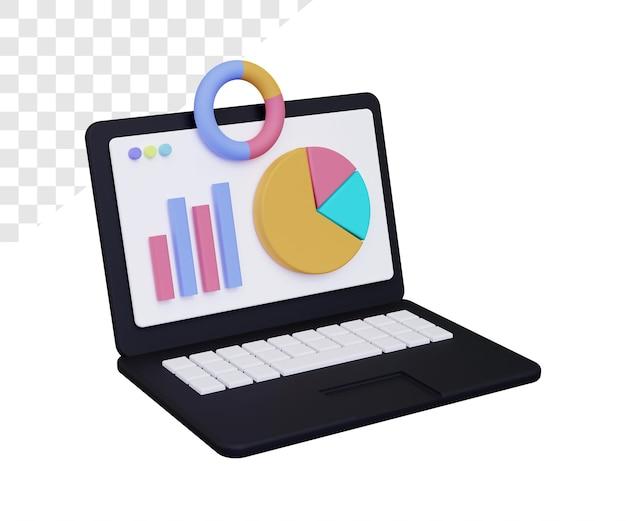 3d-laptop met geïsoleerde grafiekweergave