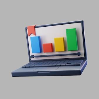 3d-laptop met grafiek