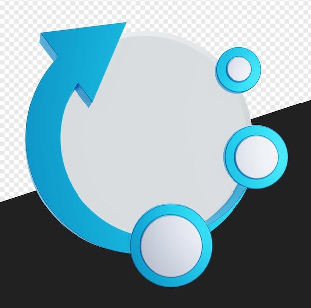3d lege cirkel met pijl of cirkel voor infographic geïsoleerd