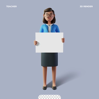 3d leraar karakter gelukkige lerarendag geïsoleerd