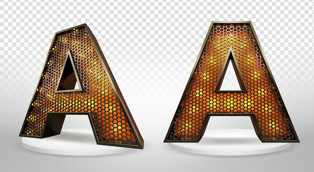3d letter a met verlichting en raster