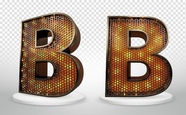3d letter b met verlichting en raster