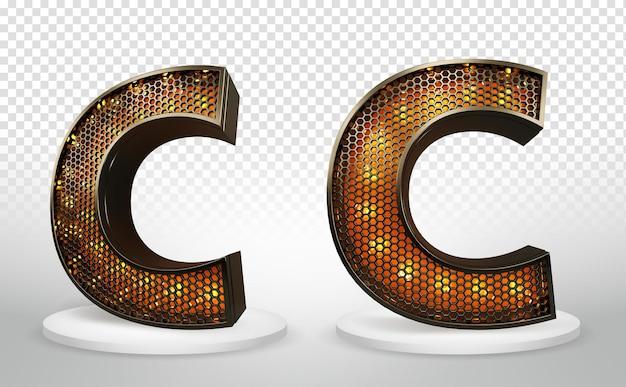 3d letter c met verlichting en raster