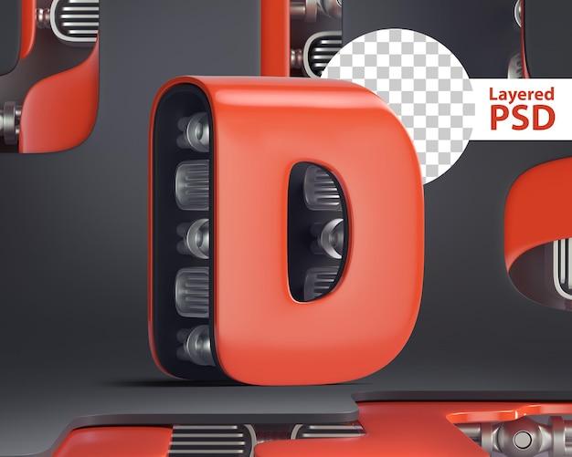 3d-letter d in futuristische cyberstijl