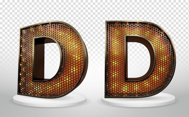 3d letter d met verlichting en raster