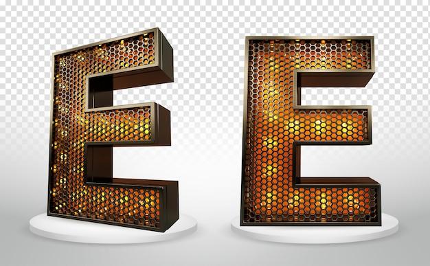 3d letter e met verlichting en raster