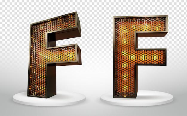 3d letter f met verlichting en raster