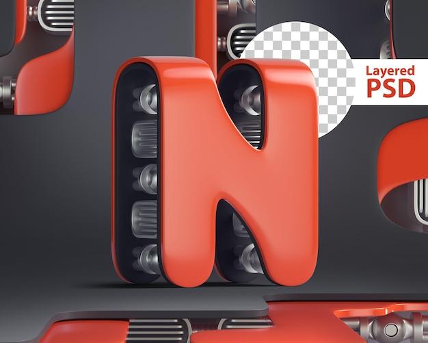 3d-letter n in futuristische cyberstijl