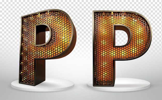 3d letter p met verlichting en raster