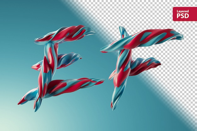 3d-letters ef gemaakt van twee kleurenwervelingen